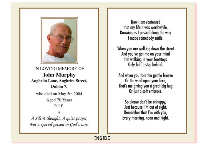 Custom Card Template » Funeral Cards Template - Free Card Template